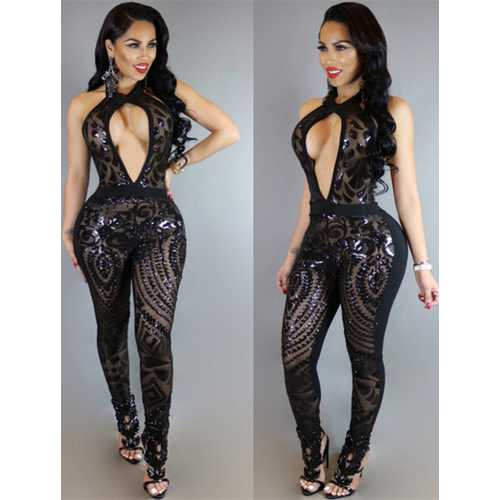 Summer Women Sleeveless and Backless Halterneck V-Neck Rompers Sequins Close-Fitting Jumpsuits Black