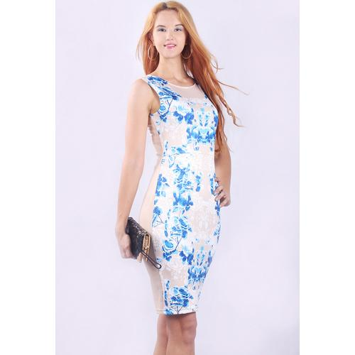 Stylish Elegant Floral Blue And White Porcelain Print Midi Dress