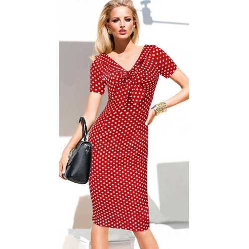 Wholesale Women Elegant Dot V-Neck Bowknot Midi Dress Red & White