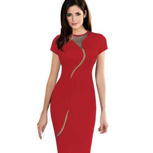 Red O-Neck Women Midi Dress