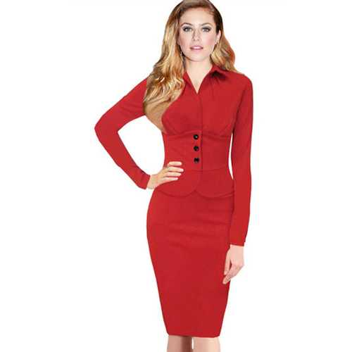 Red Turtleneck Long Sleeve Button Women Midi Dress