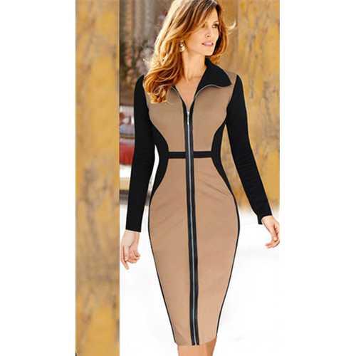 Khaki Turtleneck Long Sleeves Zip Midi Dress