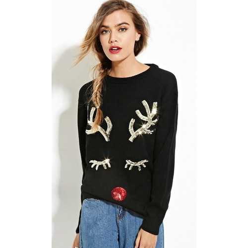 Black Sequined Christmas Pullover Reindeer sweater