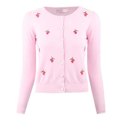 Womens Button Down Long Sleeve Knit Cherry Basic Cardigan Sweater Pink