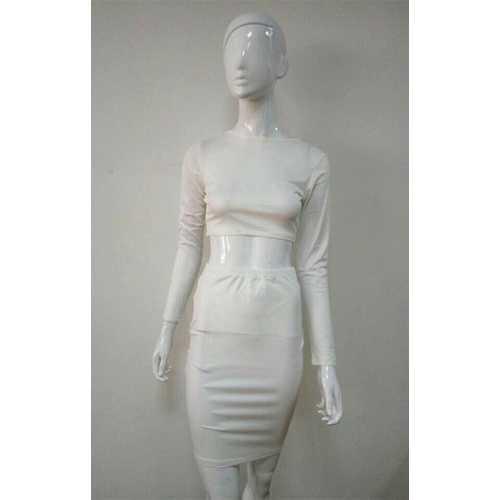 White 2pcs Long Sleeve Women Bodycon Dress