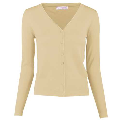 Women Button Down Long Sleeve Basic Soft Knit Cardigan Sweater Khaki