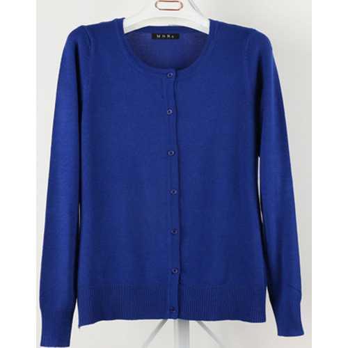 Women Button Down Crew Neck Long Sleeve Soft Knit Cardigan Sweater Dark Blue