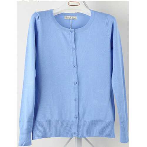 Women Button Down Crew Neck Long Sleeve Soft Knit Cardigan Sweater Blue