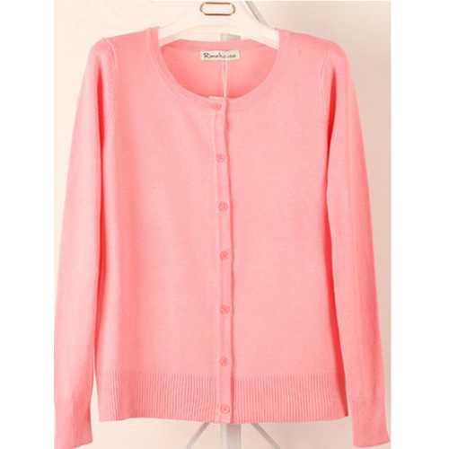 Women Button Down Crew Neck Long Sleeve Soft Knit Cardigan Sweater  Pink
