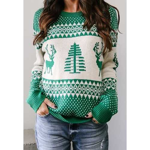 Women Green Christmas Tree O-Neck Sweater