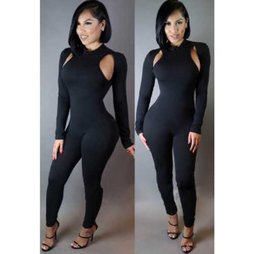 Sexy Fashion Hollow out Jumpsuit Black