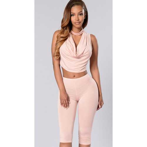 Fashion Ruffle Solid Color Woman Suit Pink