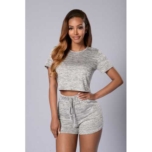 NewestWomen Short Sleeved With Two Pieces Women Suit Gray
