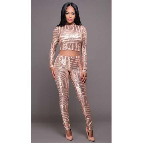 Women 2 Pieces Crops Sequin Bodycon Clubwear Party Pants Jumpsuit Set Gold