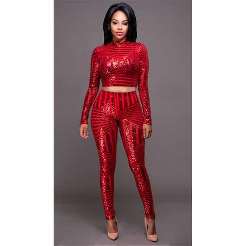 Women 2 Pieces Crops Sequin Bodycon Clubwear Party Pants Jumpsuit Set Red