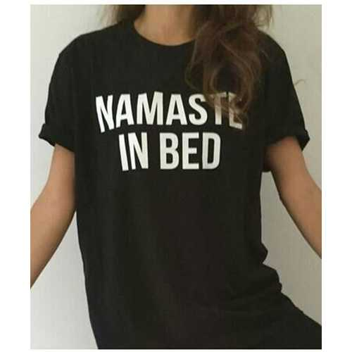 Women's Casual Letter Print T-shirt NAMASTE IN BED