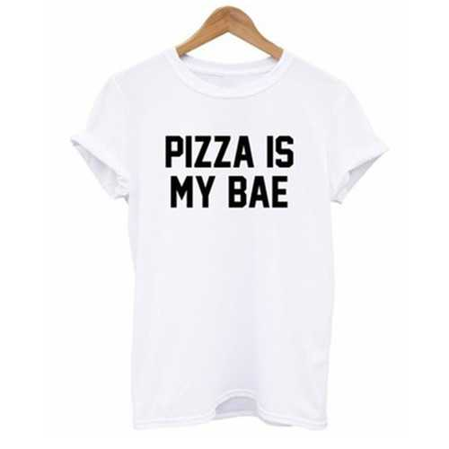 Women's Casual Letter Print T-shirt PIZZA IS MY BAE