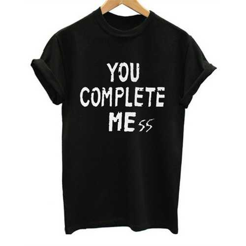 Women's Casual Letter Print T-shirt TOU COMPLETE ME
