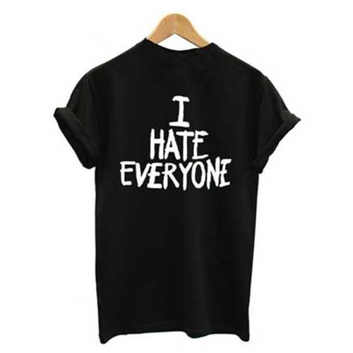 Women's Casual Letter Print T-shirt I HATE EVERYONE