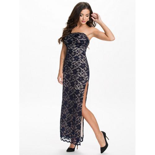 Strapless women dark blue long dress