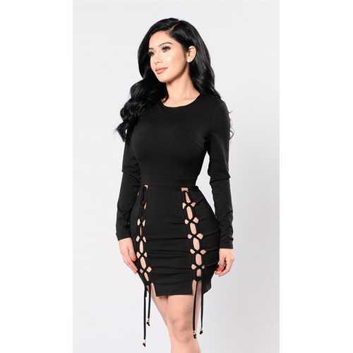Women Newest Long Sleeve Bodycon Party Dress Black