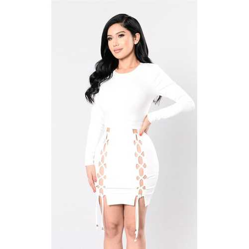 Women Newest Long Sleeve Bodycon Party Dress White
