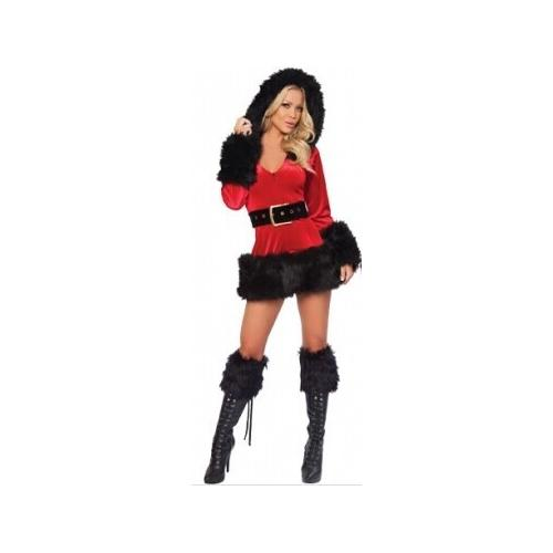 3 Piece Hooded Fur Trim Velvet Santa Costume