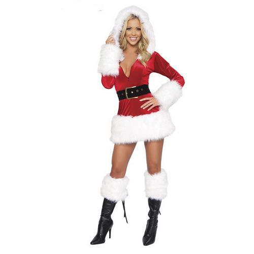 3 Piece Hooded Fur Trim Velvet Santa Costume White