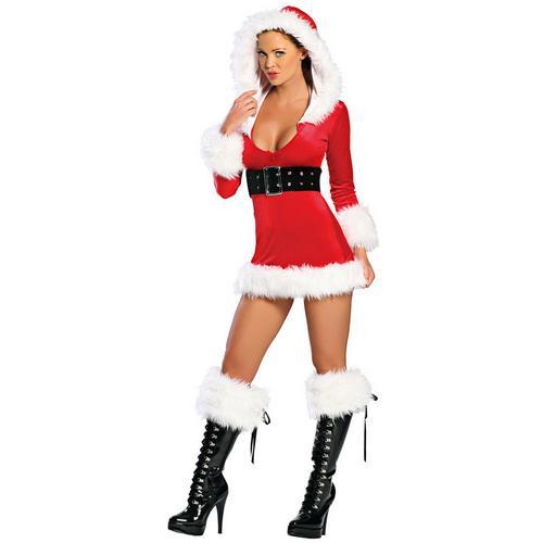 Hooded Velvet Mini Christmas Dress