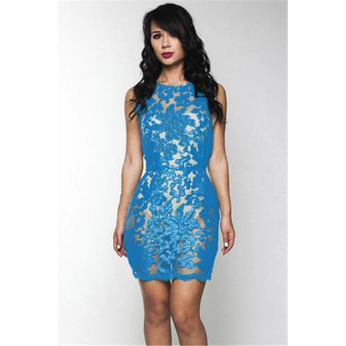Women Blue Crafted Lace Sexy O-neck Bodycon Dress