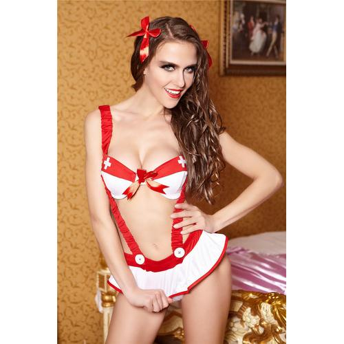 New Arrival First Aid Nurse Cosplay 3pcs Strap White Plus Red Costume