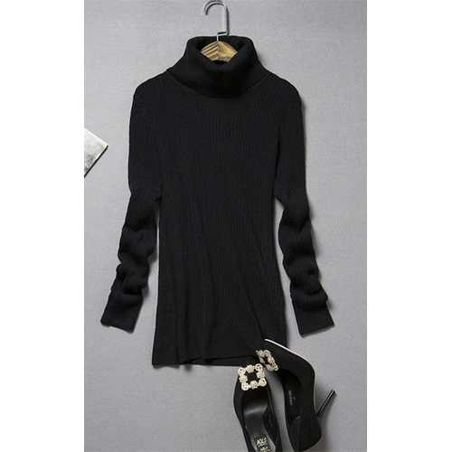 Women's Long Sleeve Turtle Neck Ribbed Thermal Sweater Black