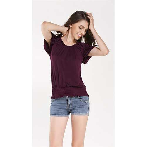 Fashion Women's O-Neck Short-Sleeve Shirt Purple