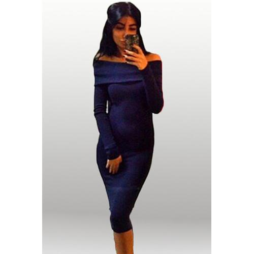 Elegant Women Slash Neck Long Sleeve Bodycon Dress Blue