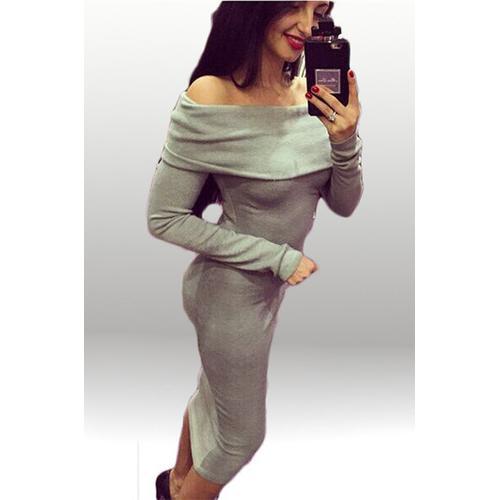 Elegant Women Slash Neck Long Sleeve Bodycon Dress Grey