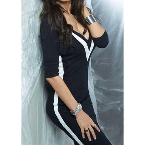 New Deep V Neck Patchwork Bodycon Dress Black
