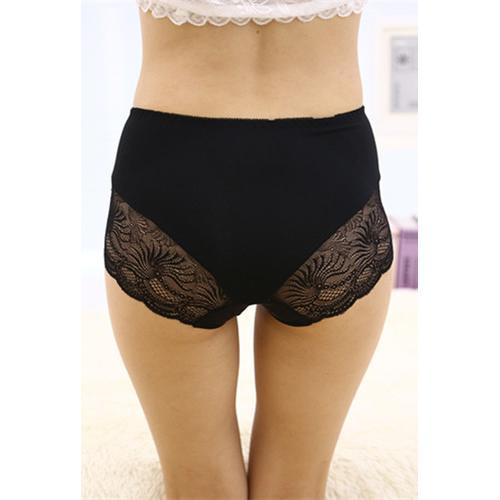 Black Lace Floral Seamless Panty
