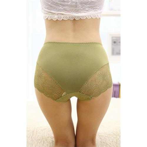 Light Green Lace Floral Seamless Panty