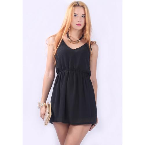 Hot Sale Chiffon Straps Off-Shoulder Club Skater Dress Black