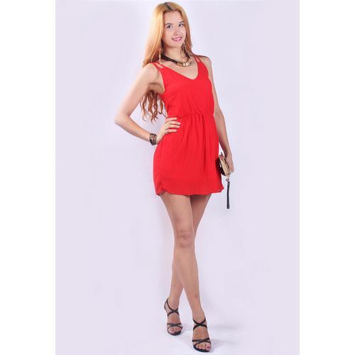 Hot Sale Chiffon Straps Off-Shoulder Club Skater Dress Red