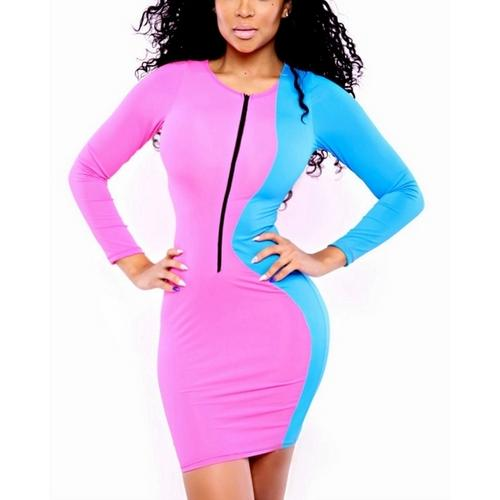 Blue&Pink patchwork Vintage Zipper Catwalk Style bandage Dress
