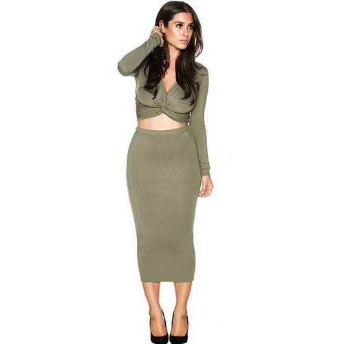 High Quality Special Chestward Crossover V-Neck Long Sleeve Bodycon Dress Green