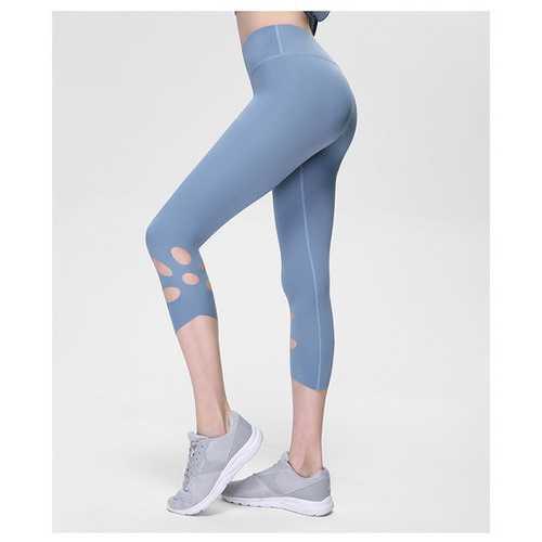 Light Blue High-Waist Cropped Yoga Pants Shredded Sportss Women Pants