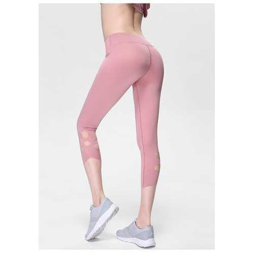 Light Pink High-Waist Cropped Yoga Pants Shredded Sportss Women Pants