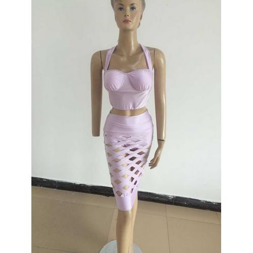 Seductive Open Caged Hollow Out Bandage Dress Set Purple