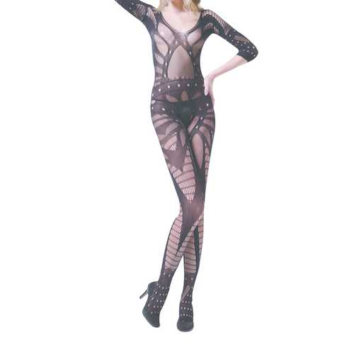 Hollow-out Pattern Crotchless Bodystocking
