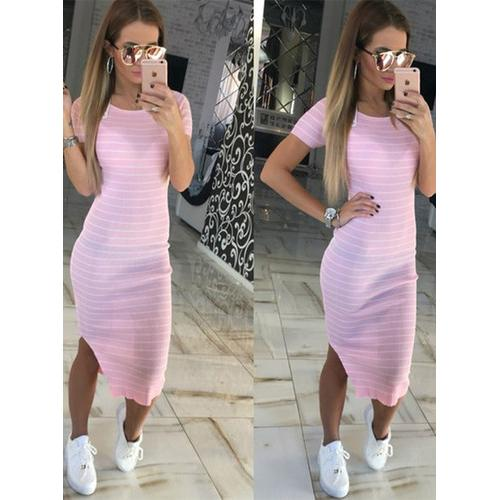 New Arrival Summer Women Short Sleeves Stripes With Split Bandage Dress Pink