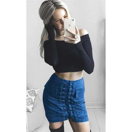 Women's Vintage Lace Up High Waist Bodycon Faux Suede Mini Skirt Blue