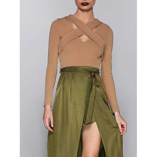 Sexy Long Sleeve Bandage Women Shirt Khaki