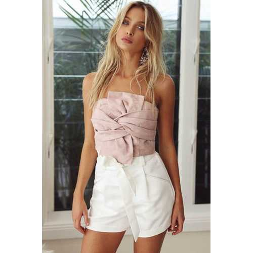 Women Sexy Velvet Strapless Tops Pink